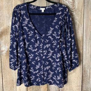 Hinge Button Up Floral Long Sleeve Navy Blouse 1x